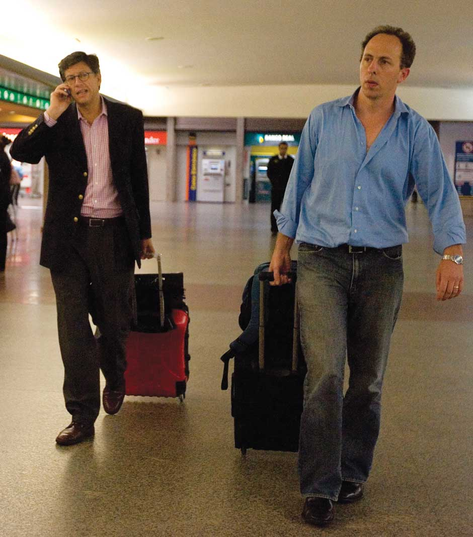 Jose Miguel Vivanco and Daniel Wilkinson of Human Rights Watch at the São Paulo, Brazil, airport, September 19, 2008. They had just been expelled from Venezuela after releasing a report in Caracas showing, as they write, that 'President Hugo Chávez has undermined human rights guarantees' in the country.
