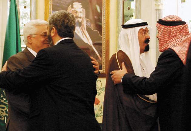 Palestinian President Mahmoud Abbas, Hamas leader Khaled Mashaal, Saudi Arabian King Abdullah, and Hamas Prime Minister Ismail Haniyeh during talks between rival Palestinian factions, Mecca, February 8, 2007