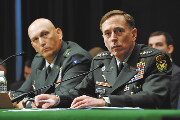 General David Petraeus, right, and General Raymond Odierno testifying before the Senate Armed Services Committee, Washington, D.C., May 22, 2008. In September 2008, General Odierno succeeded General Petraeus as the top American commander in Iraq, and General Petraeus became head of Central Command.