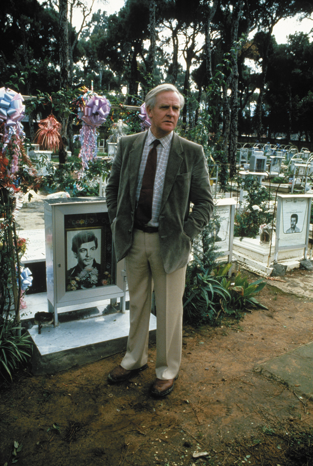 John le Carré at the Palestinian martyrs' cemetery, Beirut, Lebanon, 1983; photograph by Don McCullin