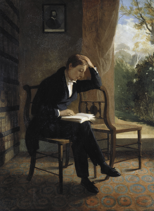 The poet John Keats, in a painting by his friend Joseph Severn, who nursed him in Rome until his death from tuberculosis in February 1821. Severn said of this portrait, 'This was the time he first fell ill & had written the Ode to the Nightingale on the morning of my visit to Hampstead. I found him sitting with the two chairs as I have painted him & was struck with the first real symptoms of sadness in Keats so finely expressed in that poem.'
