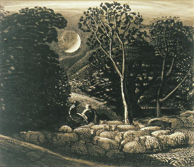 Samuel Palmer: Moonlight, a Landscape with Sheep, circa 1831-1833
