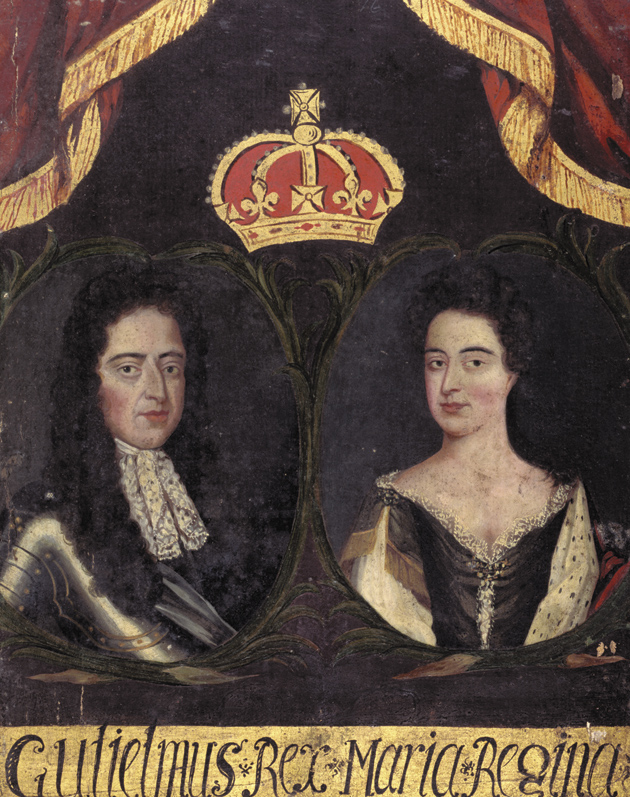 William III and Mary II, from the Guild Book of Barber Surgeons of York. The portrait may have celebrated their coronation in 1689 after England's Glorious Revolution.