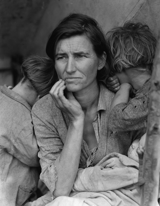 'Migrant Mother,' Nipomo, California, 1936; photographs by Dorothea Lange. Her original caption for this photograph was 'Destitute peapickers in California; a 32 year old mother of seven children. February 1936.'
