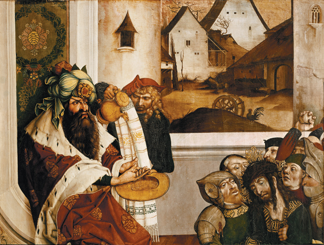 Jörg Breu the Elder: 'Pontius Pilate washing his hands,' 1502, one of eight panels formerly decorating the altar at the Melk Abbey Church, Austria