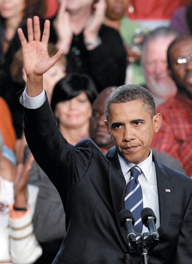 President Obama after speaking about the economy at Cuyahoga Community College, Parma, Ohio, September 8, 2010