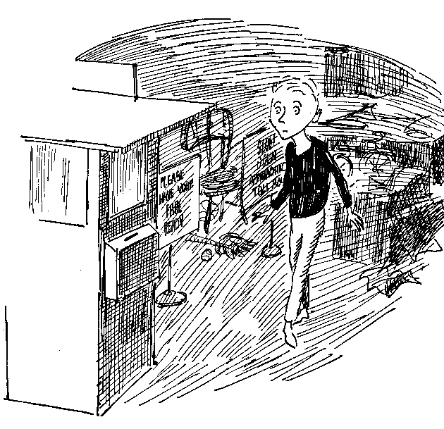 Milo approaching the tollbooth in his bedroom; illustration by Jules Feiffer from Norton Juster's The Phantom Tollbooth