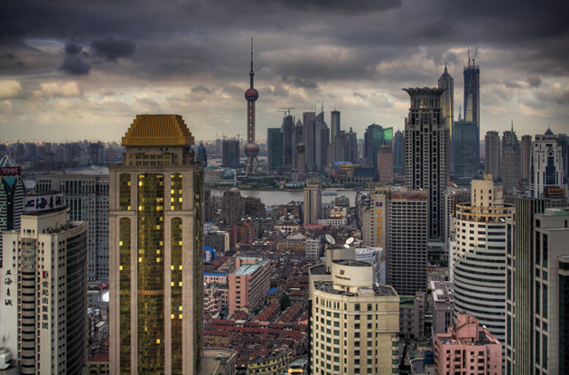 The skyline of Shanghai, looking from the Haitong Securities Building toward the Pudong financial district, 2007