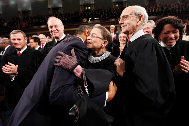 President Obama with Supreme Court Justices John Roberts, Anthony Kennedy, Ruth Bader Ginsburg, Stephen Breyer, and Sonia Sotomayor before his State of the Union address on Capitol Hill, January 24, 2012