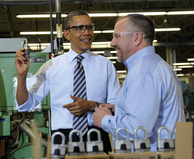 President Obama on a tour of the Master Lock factory in Milwaukee with the company's senior vice-president, Bon Rice, February 2012