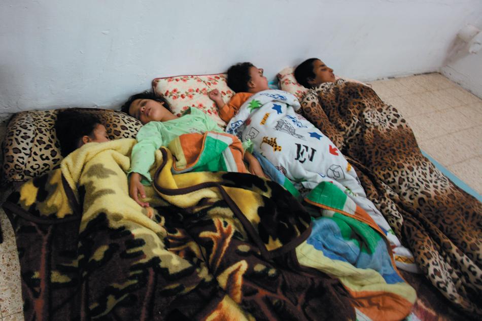 Israeli children sleeping in a shelter near the Gaza border during rocket attacks after the targeted killing of Hamas military chief Ahmed al-Jabari, November 14, 2012