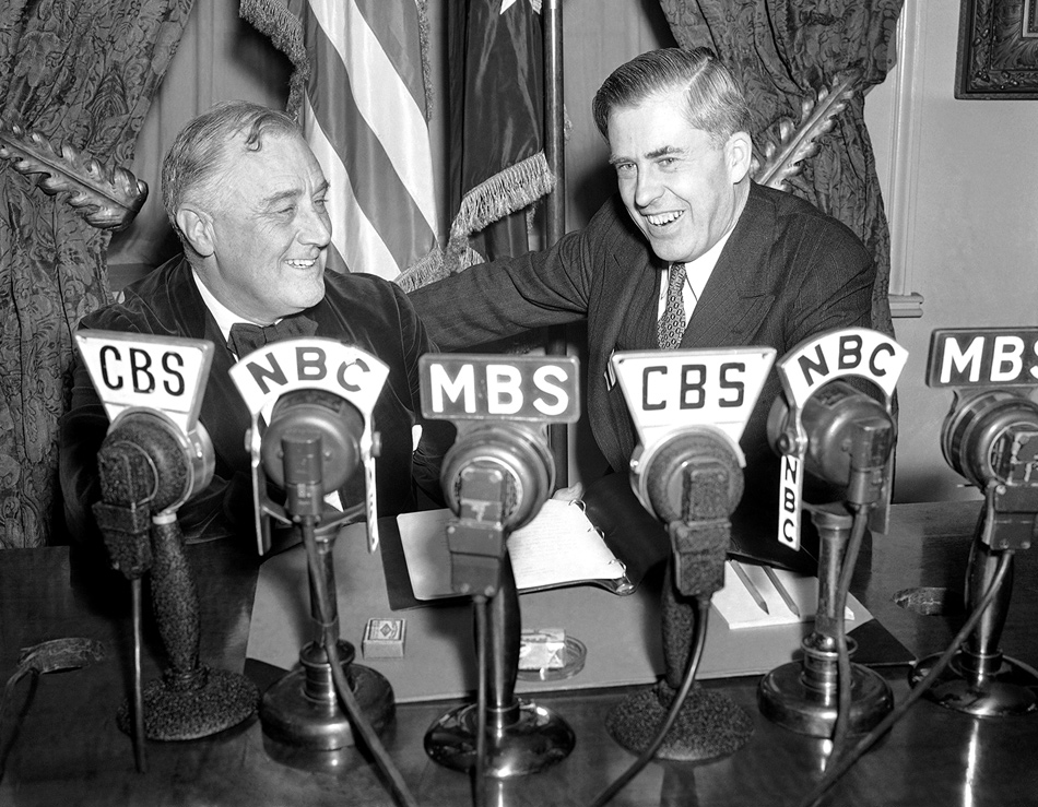 President Franklin D. Roosevelt and Secretary of Agriculture Henry Wallace during a broadcast from the White House in 1940, the year Roosevelt named Wallace as his vice-presidential running mate