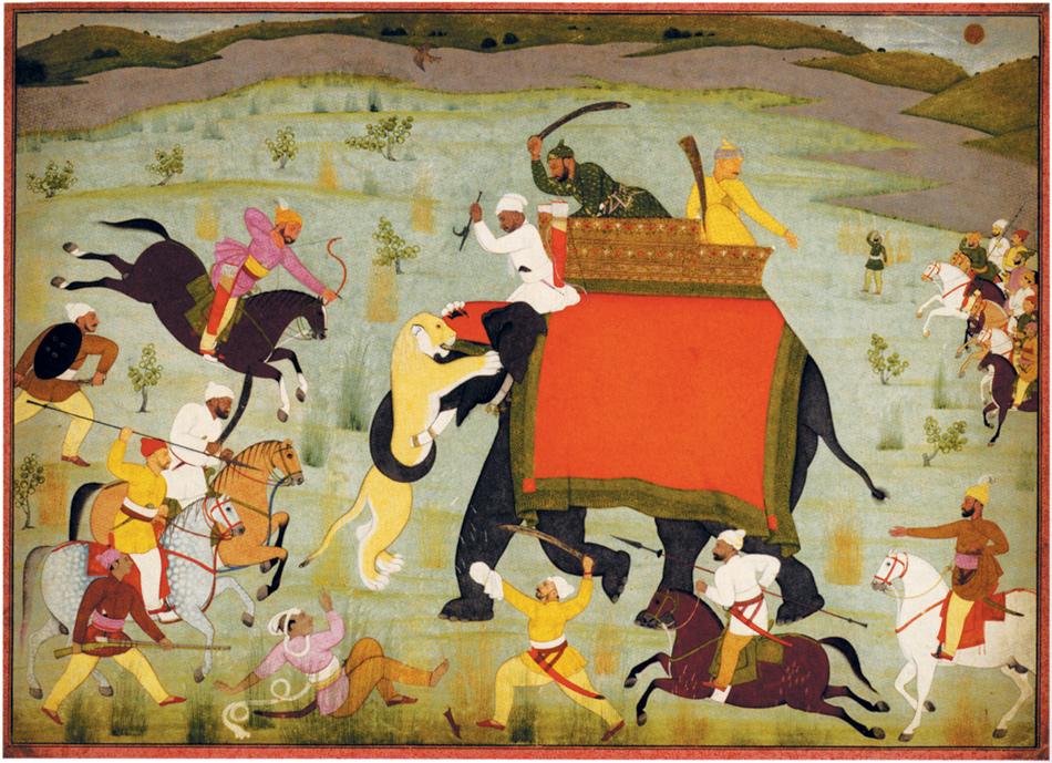 Nainsukh of Guler: Balwant Singh's Elephant Clawed by a Lion, 1752