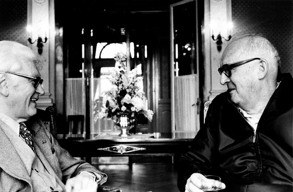 Vladimir Nabokov, right, with his cousin the composer Nicolas Nabokov, Montreux, Switzerland, 1975