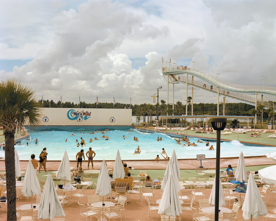 Joel Sternfeld: Wet 'n Wild Aquatic Theme Park, Orlando, Florida, September 1980; from Sternfeld's first collection of photographs, American Prospects. Originally published in 1987, the book has recently been issued in a new edition by D.A.P./Distributed Art Publishers.
