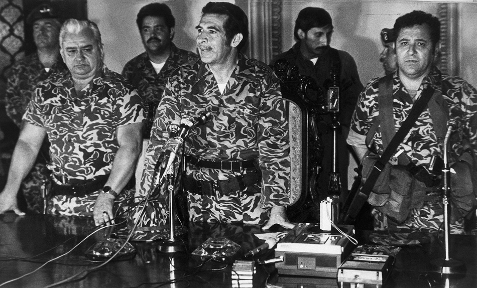 Efraín Ríos Montt, center, at the time of his military coup in Guatemala, March 1982