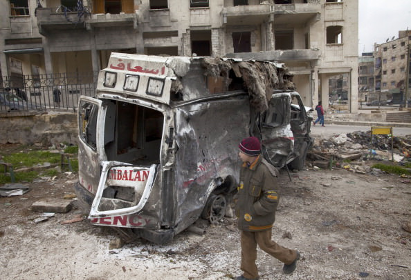 A destroyed ambulance in Aleppo, Syria, January 12, 2013