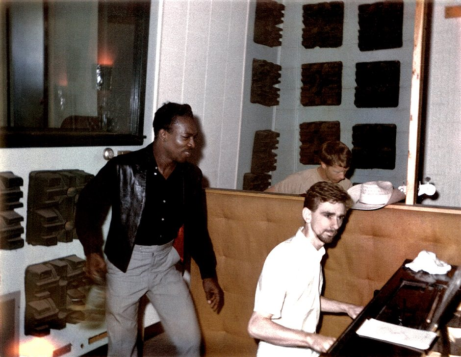 Wilson Pickett and keyboardist Spooner Oldham at FAME Studios in Muscle Shoals, Alabama, 1966