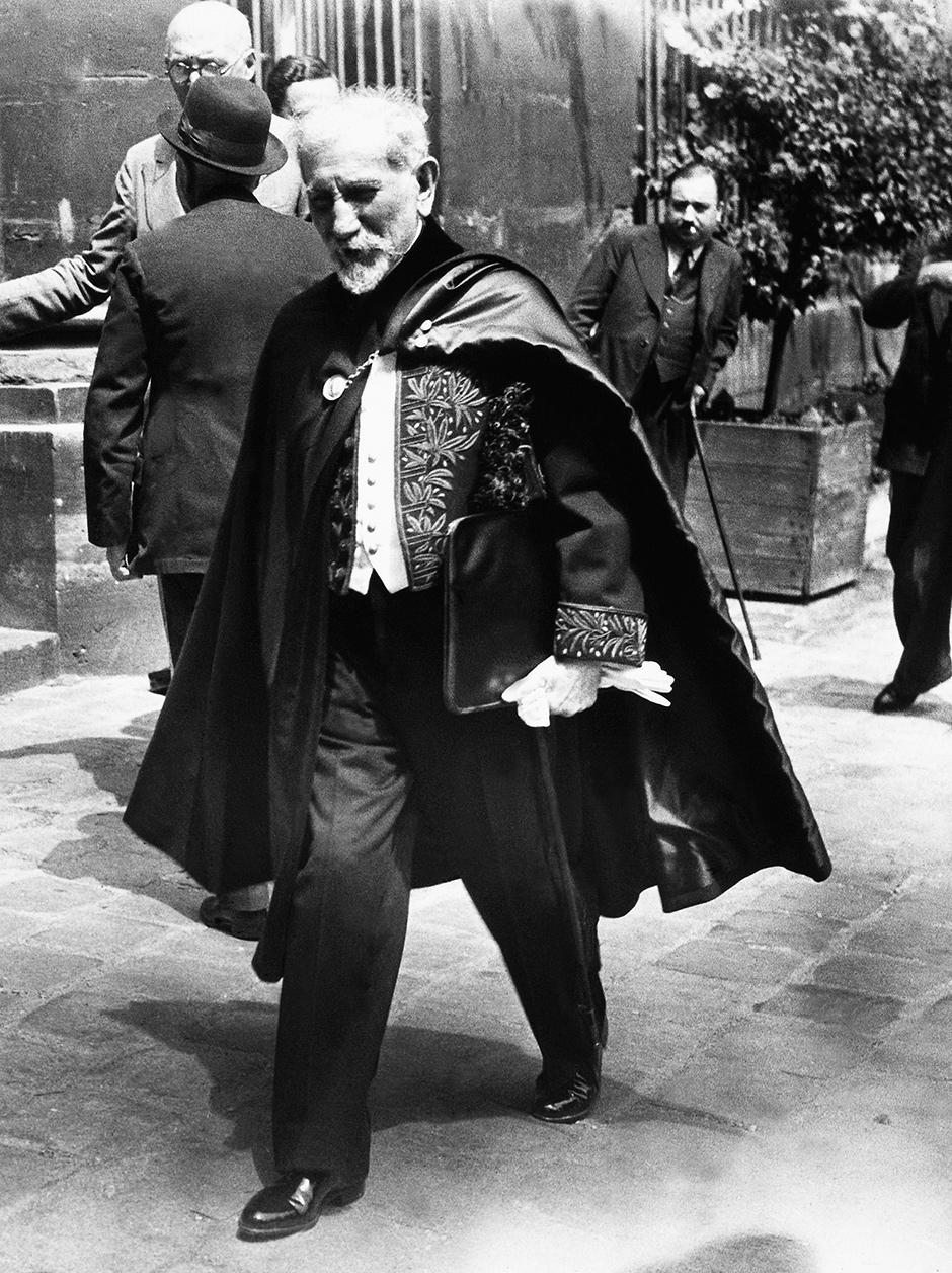 Charles Maurras, leader of the Action française movement, at a French Academy ceremony, June 1939