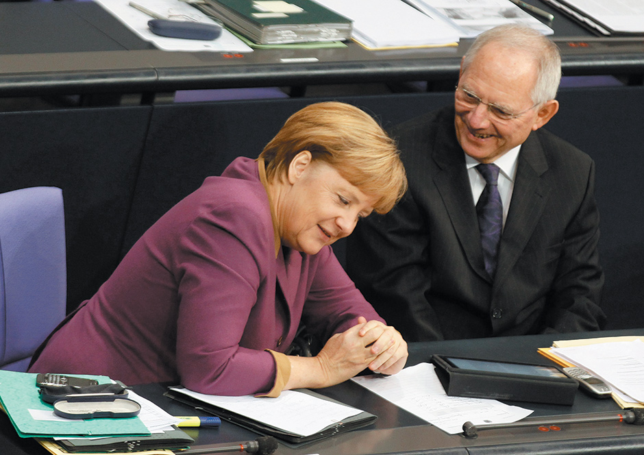 German Chancellor Angela Merkel and Finance Minister Wolfgang Schäuble before a vote on financial help for Greece, Bundestag, Berlin, November 2012