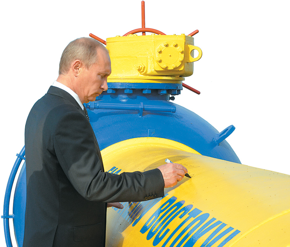 Vladimir Putin signing a Gazprom pipeline at an opening ceremony in Vladivostok for the Sakhalin–Khabarovsk–Vladivostok line, which carries natural gas through Russia's far east and is projected to supply China and other East Asian countries, September 2011
