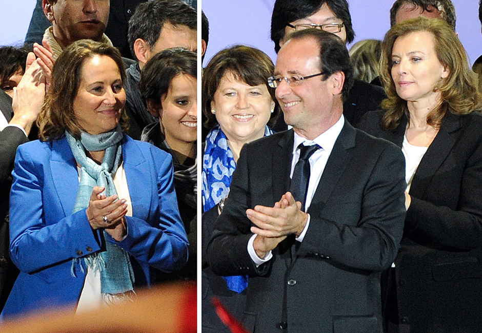 Ségolène Royal, François Hollande, and Valérie Trierweiler just after Hollande's presidential election victory was announced, Paris, May 2012
