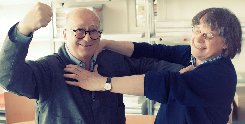 The cartoonists Georges Wolinski and Cabu at the offices of Charlie Hebdo, Paris, May 23, 2012