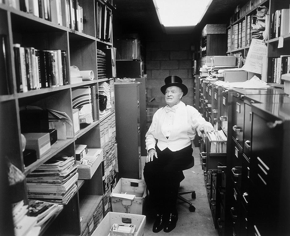 Bob Hope in his 'joke vault,' Toluca Lake, California, July 1995
