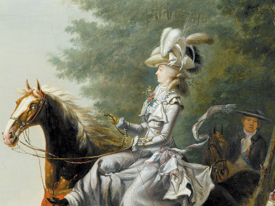 'Marie-Antoinette Hunting with Dogs'; detail of a painting by Louis-Auguste Brun de Versoix, circa 1780–1785