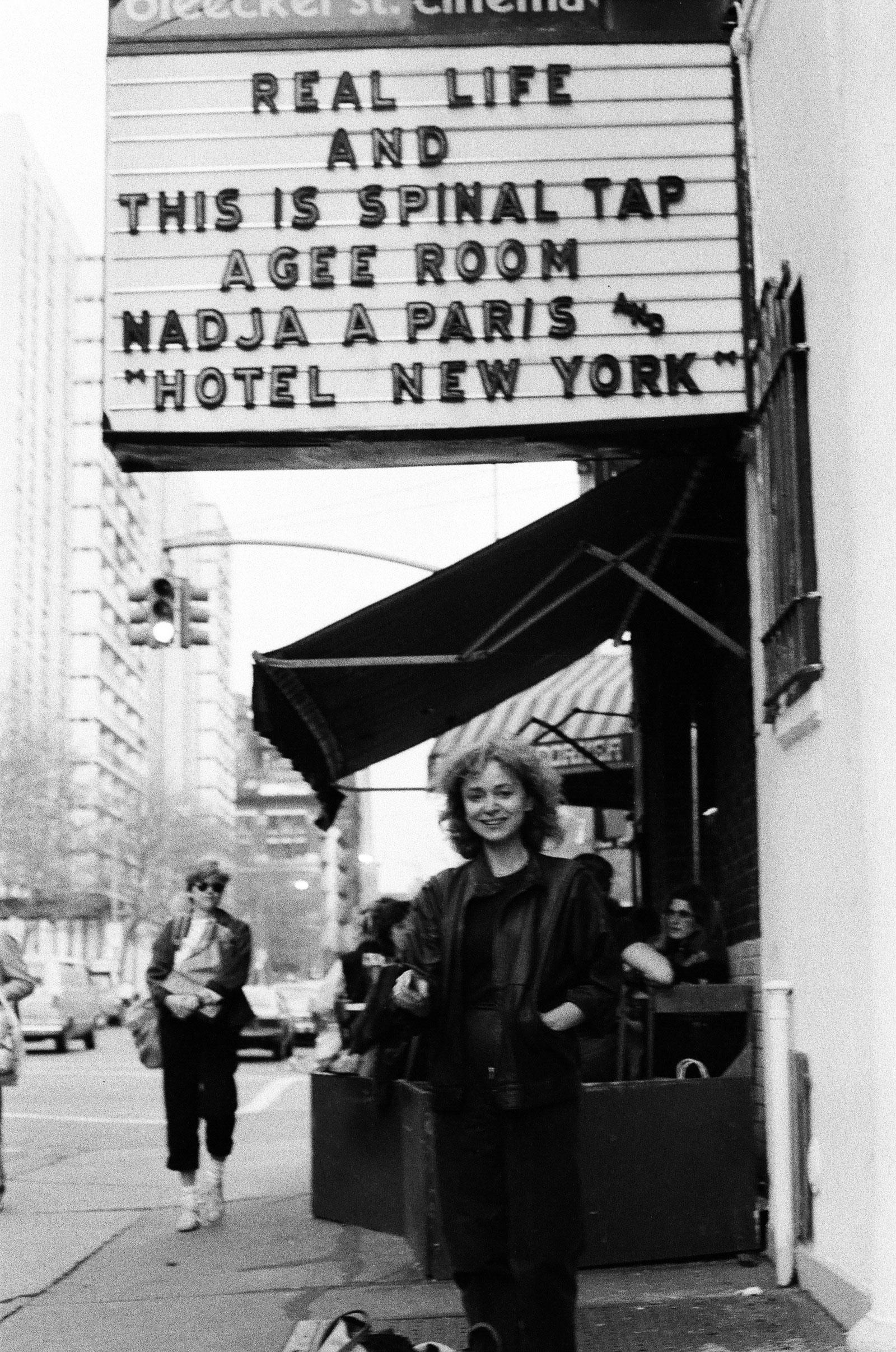 Nadja Tesich at the Bleecker Street Theater's showing of Nadja à Paris, New York City, 1980s