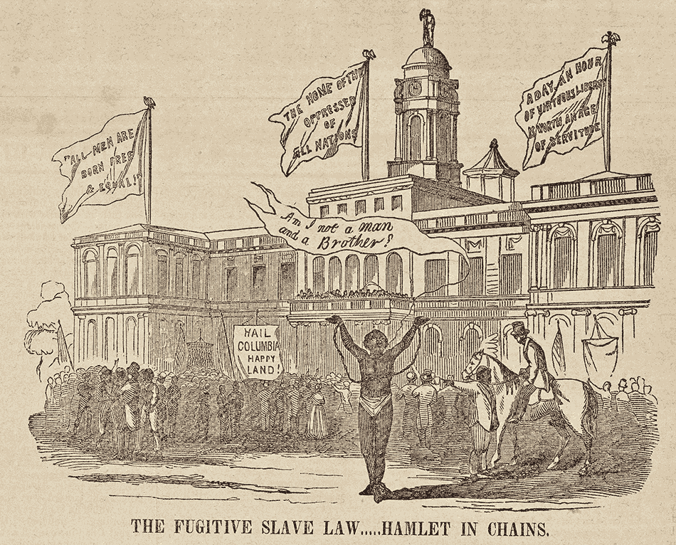 James Hamlet, the first person returned to slavery under the Fugitive Slave Law of 1850, in front of city hall in New York; engraving from the National Anti-Slavery Standard, October 17, 1850. Hamlet was returned by force to Baltimore, but 'by the time this appeared in print,' Eric Foner writes in Gateway to Freedom, 'New Yorkers had raised the money to purchase Hamlet's freedom and he was back in the city.'