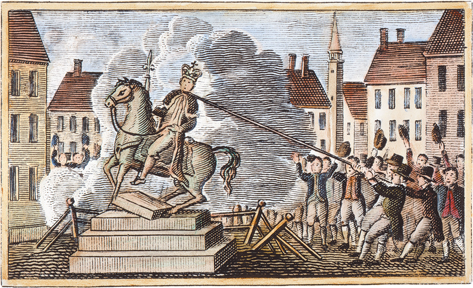 An 1829 engraving of the Sons of Liberty pulling down a statue of King George III at the Bowling Green, New York, in July 1776