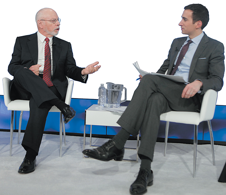 Billionaire hedge fund manager Paul Singer, who has contributed millions of dollars to Republican causes and recently endorsed Marco Rubio for president, with DealBook founder Andrew Ross Sorkin at a conference in New York City, December 2014