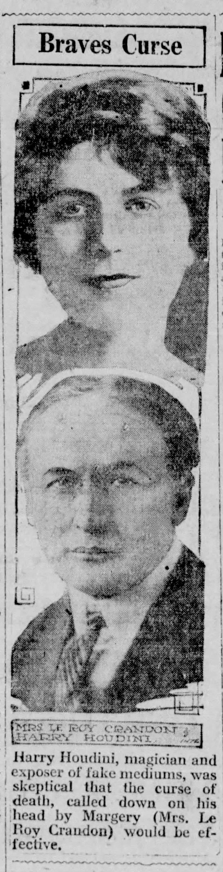 Mina Stinson Crandon and Harry Houdini in a Pennsylvania newspaper, 1925