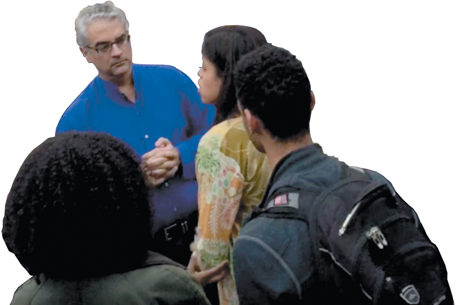 A still from the video showing Nicholas Christakis being confronted by Yale students, November 5, 2015