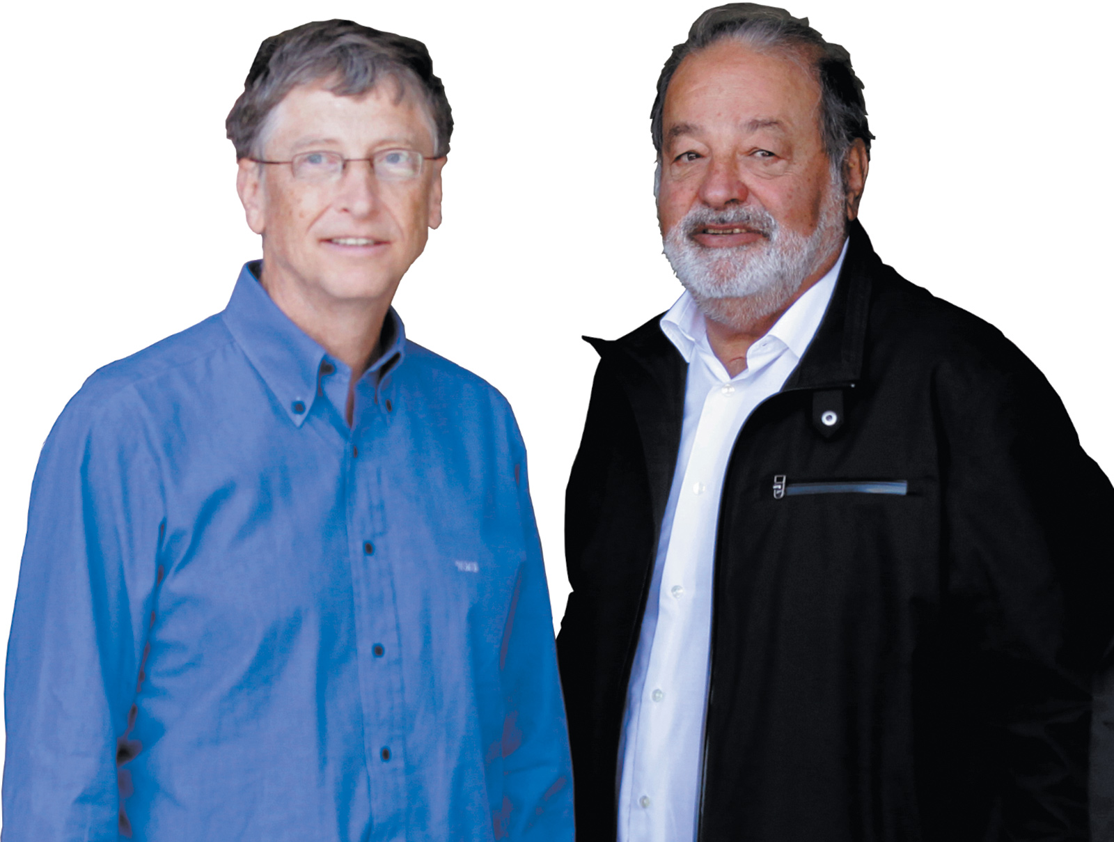 Billionaires Bill Gates and Carlos Slim at the opening of a new research facility for the International Maize and Wheat Improvement Center, Texcoco, Mexico, February 2013
