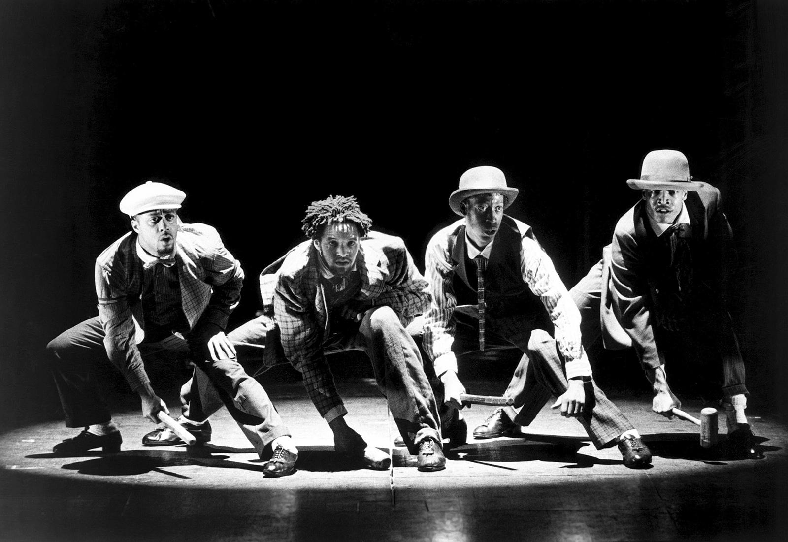 Jimmy Tate, Savion Glover, Baakari Wilder, and Vincent Bingham in Bring in 'da Noise, Bring in 'da Funk, 1996