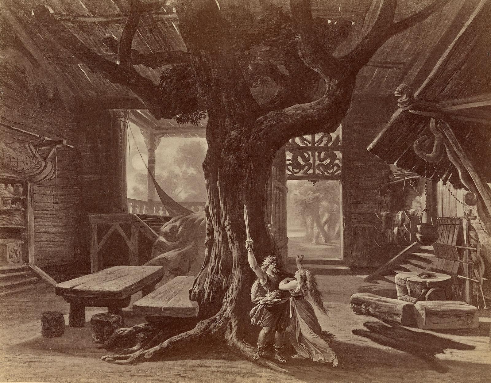 A stage design for Die Walküre, Act 1. Vienna: V. Angerer, by Joseph Hoffmann, circa 1878