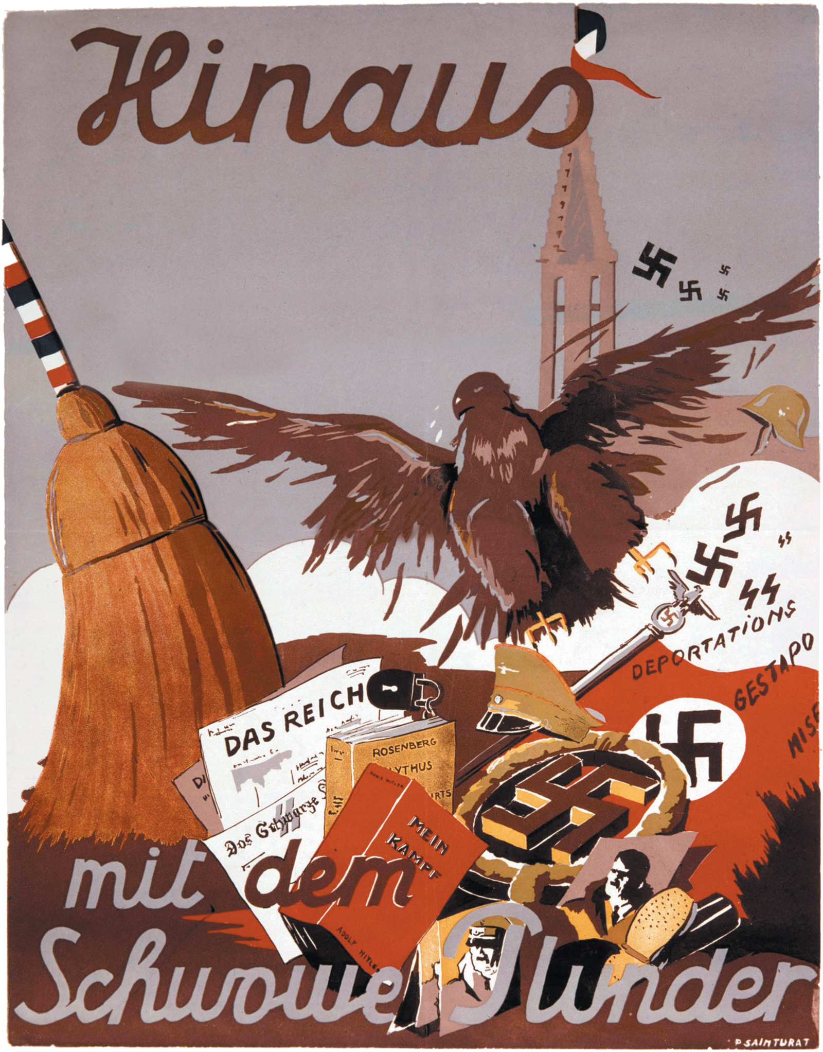 An anti-German poster by P. Sainturat saying 'Out with this Swabian Junk' and showing a French broom, with a tricolored handle, sweeping away Nazism after the liberation of France, 1945