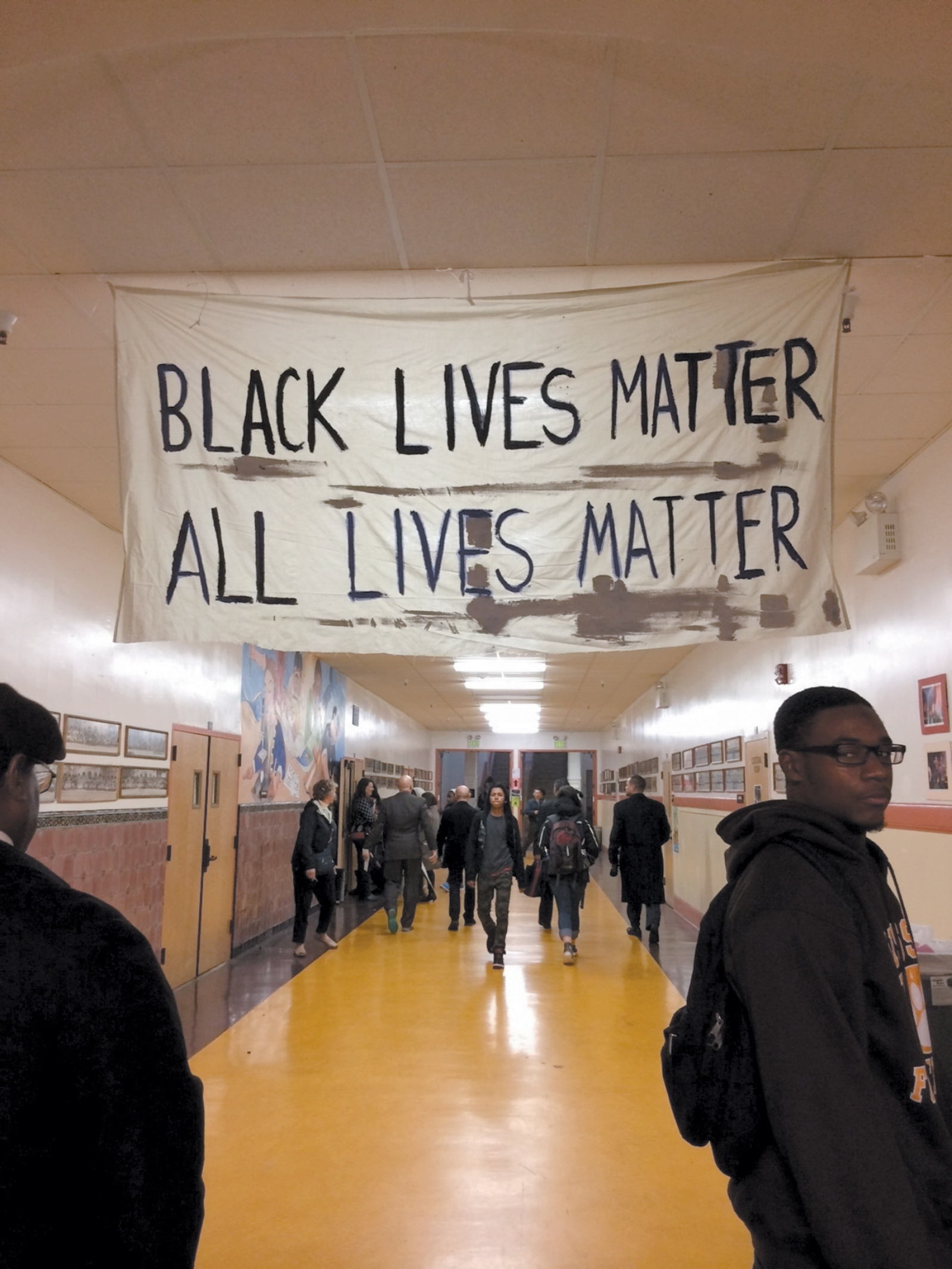 Students at Mission High School in San Francisco on the day of a forum for students citywide to discuss racial inequality and police brutality, December 2014. Organized by Mission High's black student union and the NAACP, the panel included Michael Brown Sr., whose son was shot and killed by a police officer in Ferguson, Missouri, that summer.