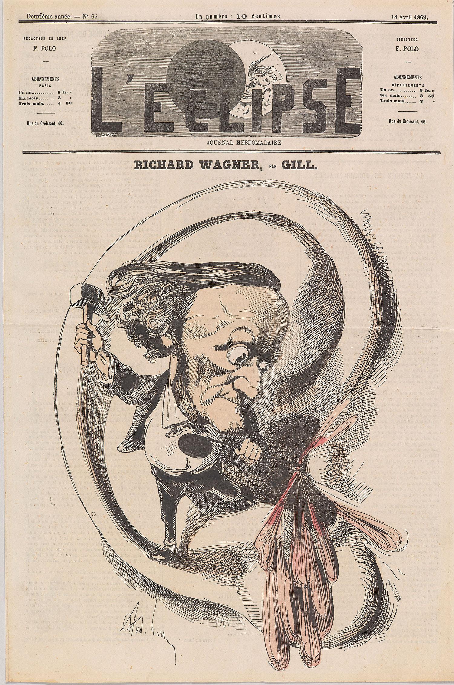 André Gill: Richard Wagner (caricature), L'Éclipse, April 18, 1869