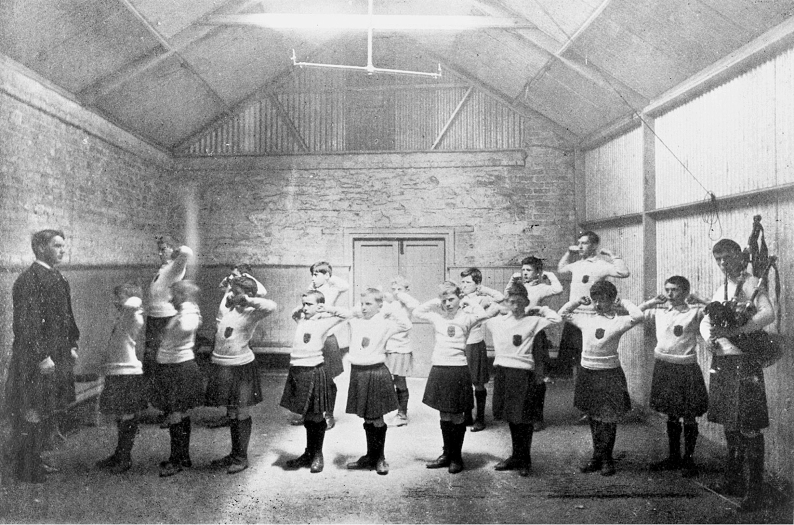 Students being drilled at St. Enda's, the school founded by Patrick Pearse, Dublin, circa 1910. The teacher leading them is probably Con Colbert, who was later executed for his part in the Easter Rising.