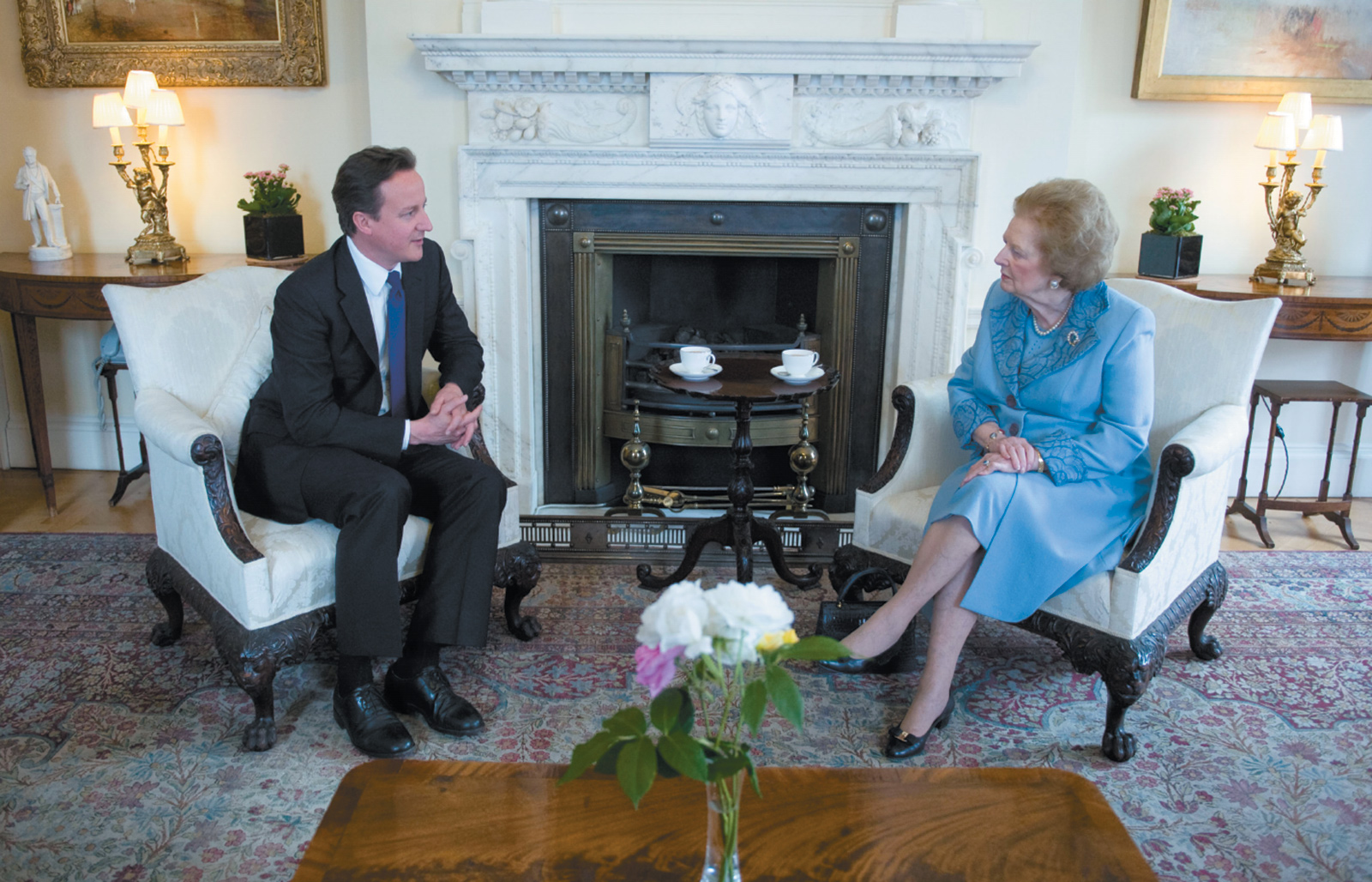 David Cameron and Margaret Thatcher at 10 Downing Street, London, June 2010