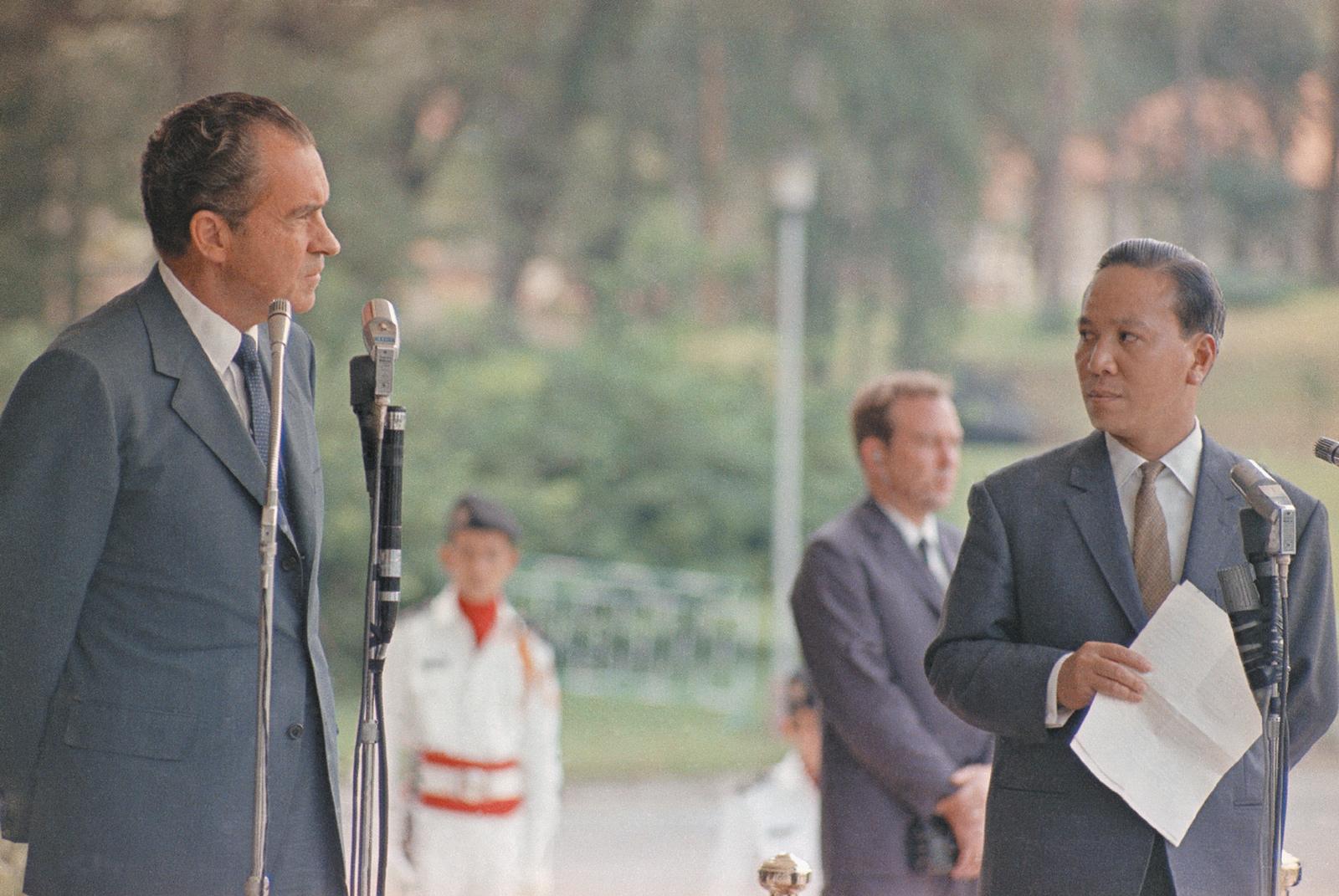 President Nixon with President Nguyen Van Thieu in South Vietnam, August 1969