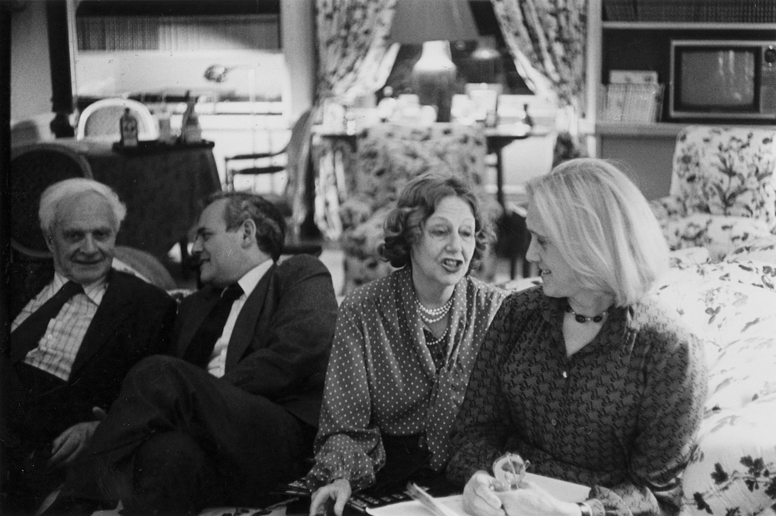 Stephen Spender, New York Review editor Robert Silvers, Elizabeth Hardwick, and Natasha Spender, New York City, 1980s
