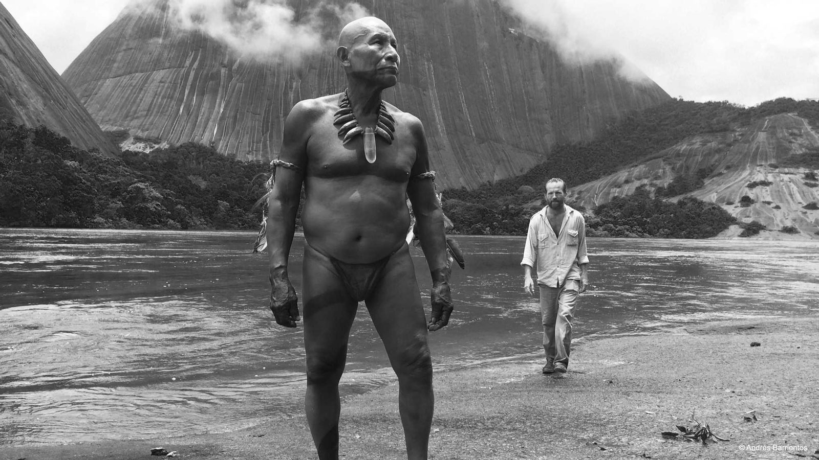 Antonio Bolivar as Karamakate and Brionne Davis as Richard Evans Schultes in Ciro Guerra's Embrace of the Serpent, 2015
