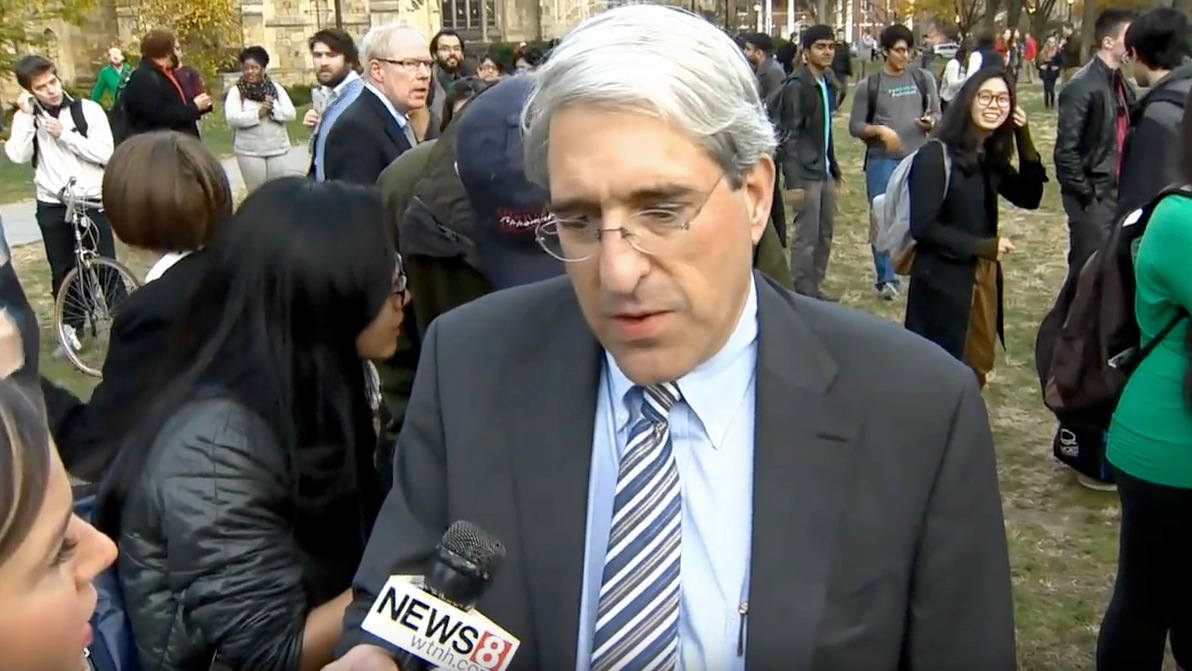 Yale University president Peter Salovey addresses the media after a student march on campus, November 9, 2015