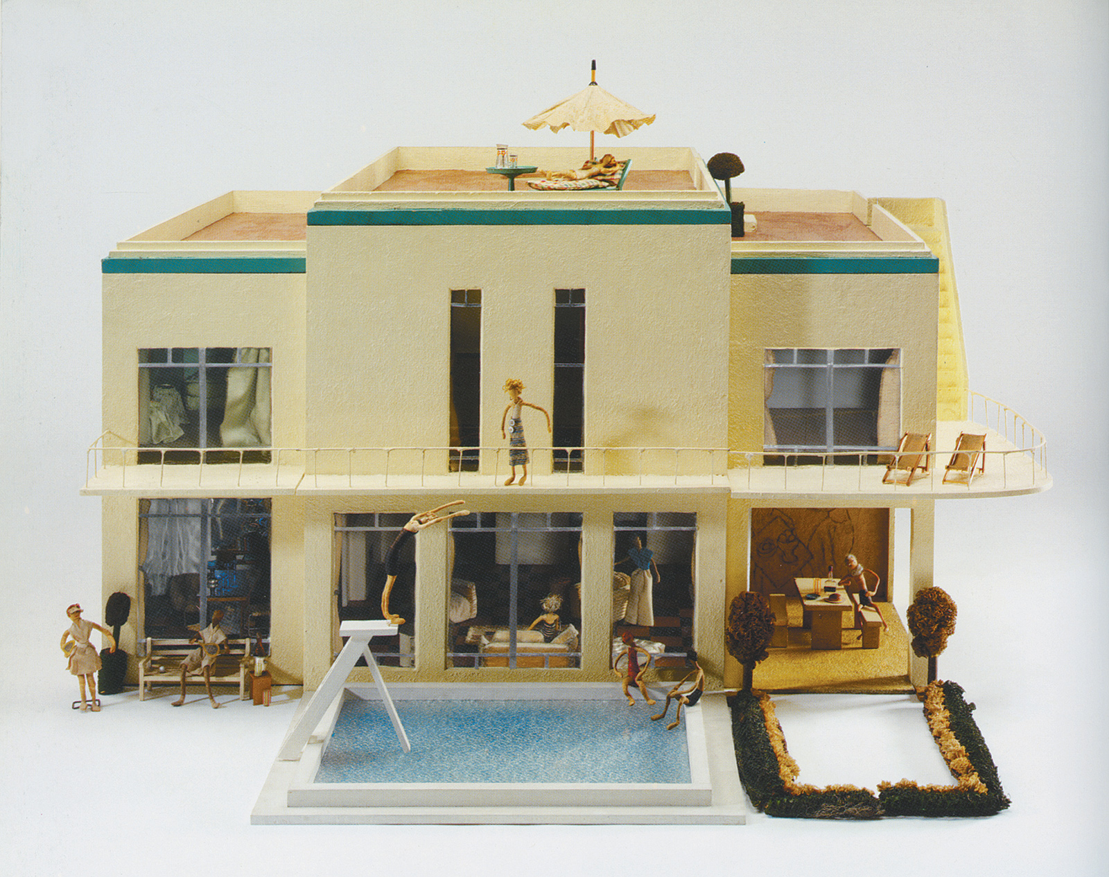 Whiteladies House, designed by Moray Thomas and built by William Purse, 1935; from the 'Small Stories' exhibition. 'With a swimming pool, cocktail bar, and murals by the Futurist painter Claude Flight,' Patricia Storace writes, this dollhouse 'evokes Noël Coward's songs in praise of madcap pranks and improvised parties, and Evelyn Waugh's Bright Young Things.'