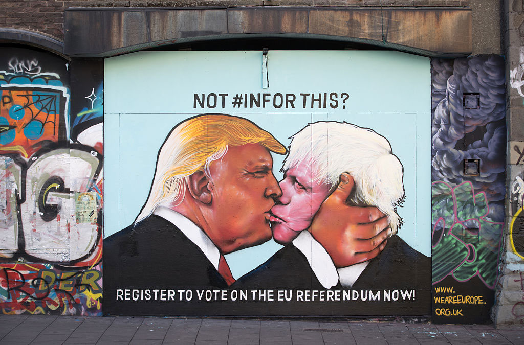 A mural showing Donald Trump sharing a kiss with former London Mayor and leading Brexit supporter Boris Johnson, Bristol, England, May 24, 2016