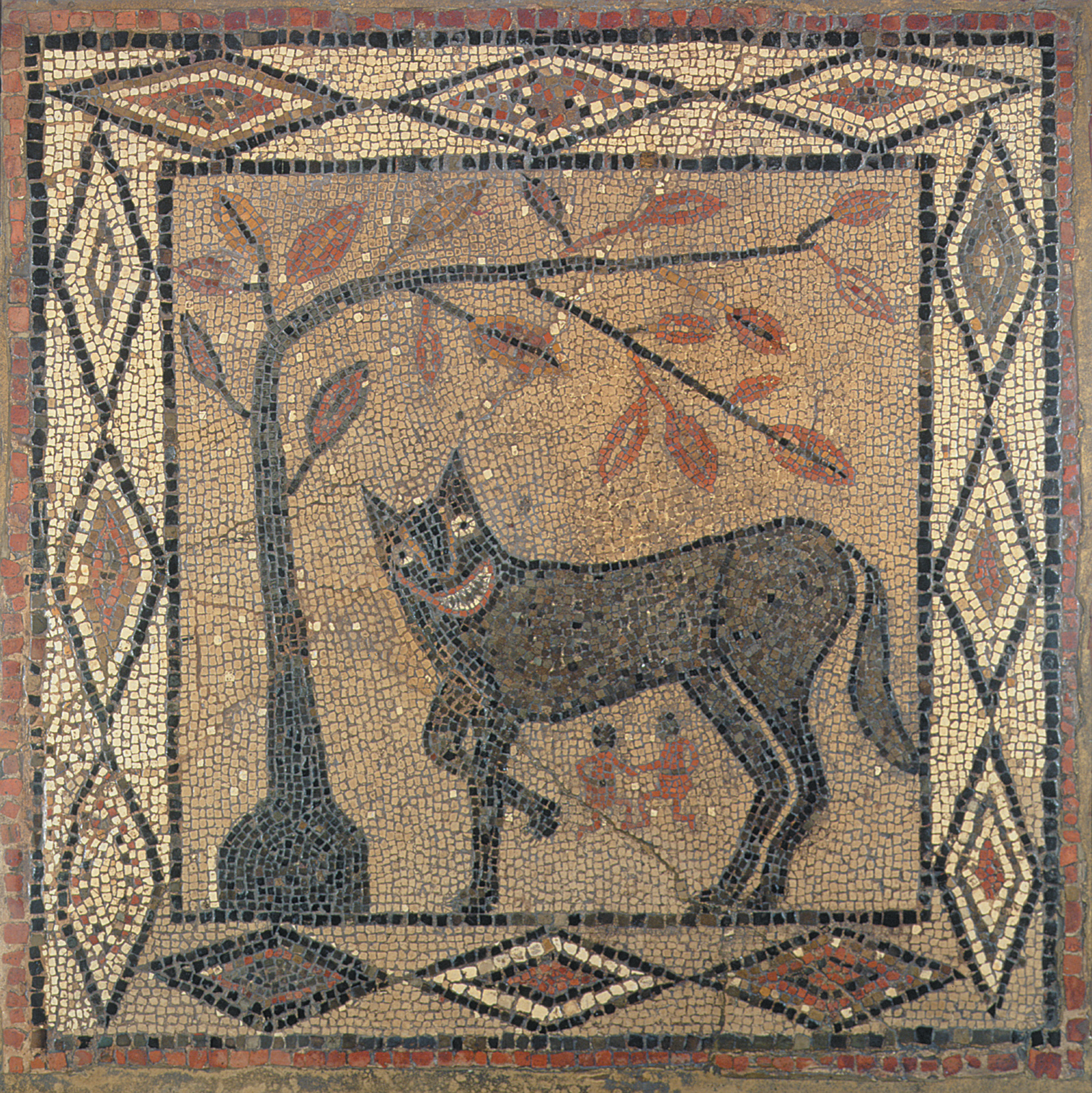 A mosaic of the wolf suckling Romulus and Remus, the twin founders of Rome, from the Roman fortress site at Aldborough near Leeds, circa 300 CE